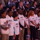 Littles Lead the National Anthem at Nets Game